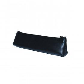 Trousse mini trapèze cuir de mouton - NOIR - 19x3x5cm