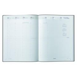 Agenda BREPOLS Omega 27 - 21x27cm - 1 semaine sur 2 pages couverture noire Capri + répertoire