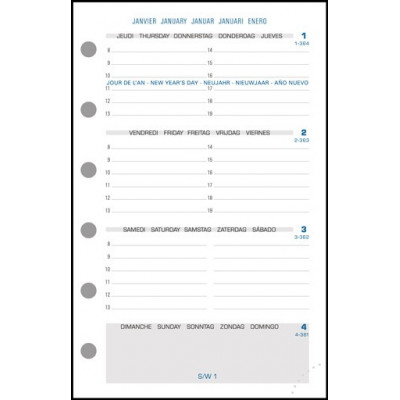 Recharge Exatime 14 semainier millésimé 2 pages par semaine - 126 x 81 mm