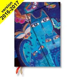 Agenda PAPERBLANKS Chats Bleus et Papillons - Midi 130×180mm - 1 semaine sur 2 pages horizontal