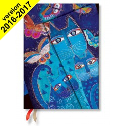 Agenda PAPERBLANKS Chats Bleus et Papillons - Midi 130×180mm - 1 semaine sur 2 pages vertical