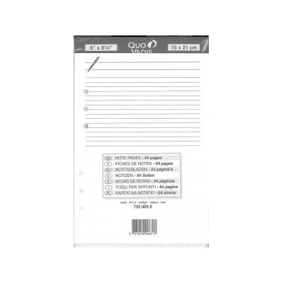 QUOVADIS Recharge NOTES 64 pages blanc ligné pour TIMER 21