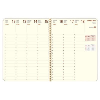 Recharge agenda spirale OBERTHUR Contemporain 25 - 16x23,5cm - 1 semaine sur 2 pages LODGE/KENT