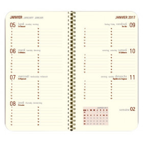Recharge agenda spirale OBERTHUR Contemporain 16 poche - 8,9x16,5cm - 1 semaine sur 2 pages LODGE/KENT