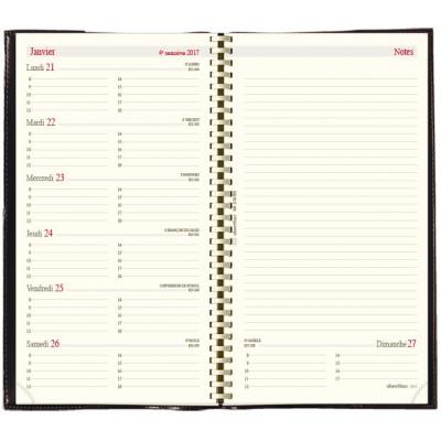 Recharge agenda spirale OBERTHUR Classique 17 - 10x17cm - 1 semaine sur 2 pages