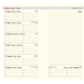 Recharge agenda OBERTHUR Classique 16 - 8,9x16,5cm - 1 semaine sur 2 pages