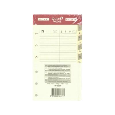 QUOVADIS Recharge répertoire téléphonique ivoire 8x12,5cm pour TIMER 14
