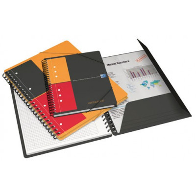 Cahier-chemise A5 spirale MEETINGBOOK OXFORD International 160pages - carreaux 5x5mm - 178x225mm