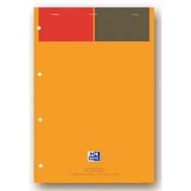 Bloc-notes A4+ OXFORD orange 160 pages perforées - ligné - 210x315mm