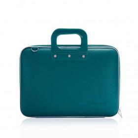 """Mallette PC Portable 13"""" BOMBATA MEDIO CLASSIC vinyle BLEU PETROLE - 38x29x7cm"""