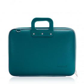 """Mallette PC Portable 15"""" BOMBATA CLASSIC vinyle BLEU PETROLE - 43x33x7cm"""