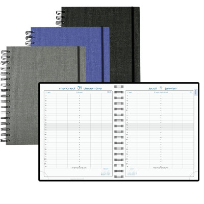 Agenda EXACOMPTA Agenda La Journée planifiée 22W Carte spirale métal élastique -  - 225x180mm