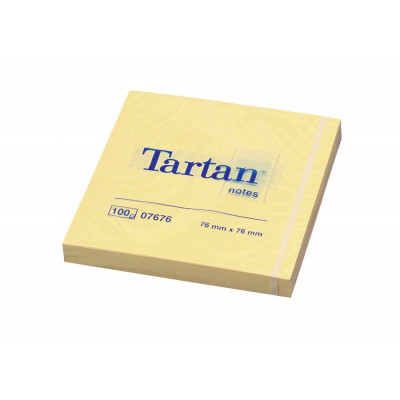 Bloc notes repositionnable TARTAN 76x76mm - JAUNE