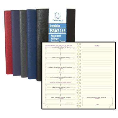 Agenda EXACOMPTA de poche ESPACE 16S Cassandra - 160x90mm - 1 semaine sur 2 pages - spirale (COLORIS ALEATOIRES)