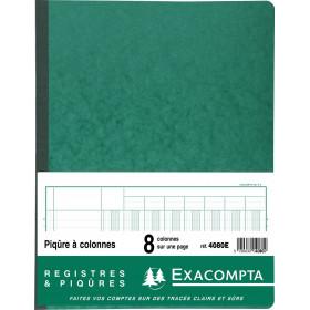 Piqûre 32x25cm EXACOMPTA (4080E) 8 colonnes sur 1 page - 33 lignes - 80 pages