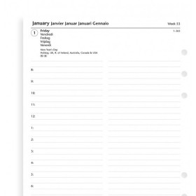Recharge agenda FILOFAX organiseur A5 - 1 jour par page - 148x210mm