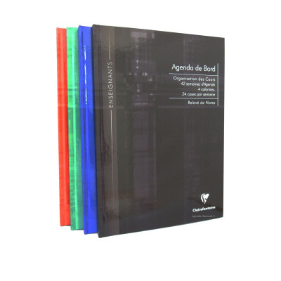 Agenda de bord CLAIRFONTAINE - 21x29,7cm - 4 colonnes (24 cases/semaine) couverture rigide - 144 pages