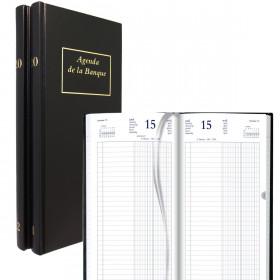 Agenda de la Banque BREPOLS Long 15.4 x 33 cm - Réglure double colonne, Euros et centimes - 1 jour sur 2 pages