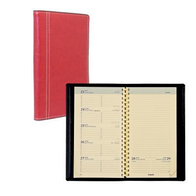 Agenda BREPOLS Notaplan à spirales - 9x16cm - 1 semaine sur 2 pages couverture rouge Palermo