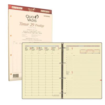 Recharge agenda QUOVADIS Timer 29 prestige 21x29.7cm janvier - décembre + supplément septembre à décembre 16 mois