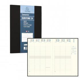 Agenda EXACOMPTA Eurotime 24 Gobi Noir - 240x160mm - 1 Semaine sur 2 pages