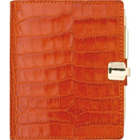 Agenda MIGNON A10 - 90x68mm - cuir Veau Croco SAVANNAH Orange
