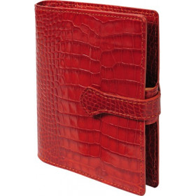 Organiseur MIGNON AK13 - 126x91mm - cuir Veau Croco SAVANNAH Orange + patte