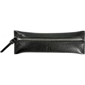 Trousse MIGNON - 65x183mm cuir Chèvre Diana Noir plate zippée