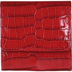 Porte-monnaie MIGNON - 85x80mm cuir Veau Croco SAVANNAH Rouge bouton pression