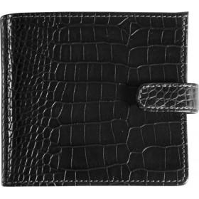 Porte-monnaie MIGNON - 98x106mm cuir Veau Croco SAVANNAH Noir + patte