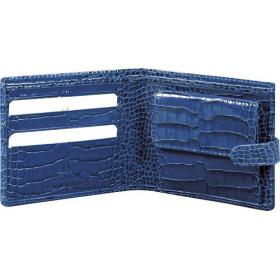 Porte-monnaie MIGNON - 98x106mm cuir Veau Croco SAVANNAH Bleu indigo + patte