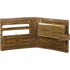Porte-monnaie MIGNON - 98x106mm cuir Veau Croco SAVANNAH Vison + patte