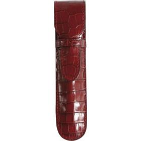 Etui MIGNON 1 stylo - 150x34mm cuir Veau Croco SAVANNAH Rouge