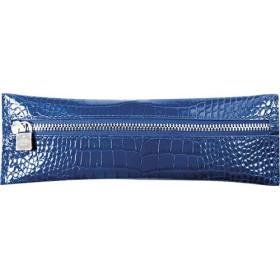 Trousse MIGNON - 65x183mm cuir Veau Croco SAVANNAH Bleu indigo plate zippée