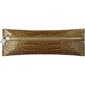Trousse MIGNON - 65x183mm cuir Veau Croco SAVANNAH Vison plate zippée