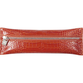 Trousse MIGNON - 65x183mm cuir Veau Croco SAVANNAH Orange plate zippée