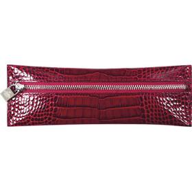 Trousse MIGNON - 65x183mm cuir Veau Croco SAVANNAH Rouge plate zippée
