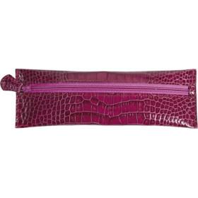 Trousse MIGNON - 65x183mm cuir Veau Croco SAVANNAH Fuchsia plate zippée