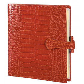 Organiseur MIGNON AK17 - 170x146mm - cuir Veau Croco SAVANNAH Orange + patte