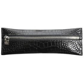 Trousse MIGNON - 65x183mm cuir Veau Croco SAVANNAH Noir plate zippée