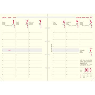 Recharge pour organiseur OBERTHUR 30 - 21x29,7cm - 1 semaine sur 2 pages verticale