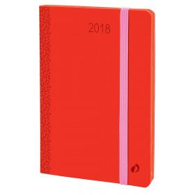 Agenda QUOVADIS AFFAIRES PRESTIGE Velvet - Rouge corail - 10x15cm - 1 semaine sur 2 pages