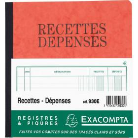 Piqûre 21x19cm EXACOMPTA (930E) recettes-dépenses - 80 pages