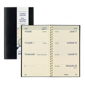 Agenda BREPOLS Optivsion pocket spirale CALPE - 9x16cm - 1 semaine sur 2 pages NOIR