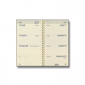Recharge agenda BREPOLS Optivsion pocket spirale - 9x16cm - 1 semaine sur 2 pages