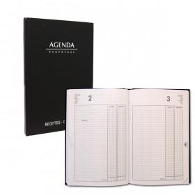Agenda LECAS journalier Recettes - Dépenses perpétuels 14x22cm Couverture noir