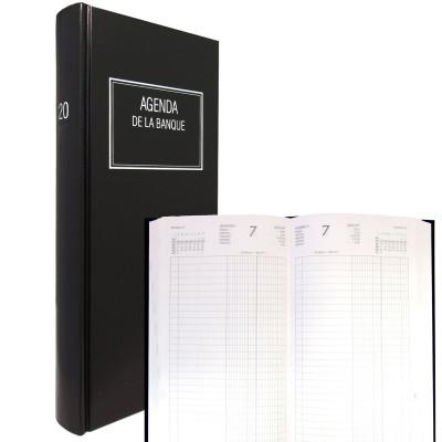 Agenda de la Banque LECAS Long 15 x 34 cm - Réglure double colonne, Euros et centimes - 1 jour sur 2 pages