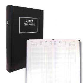 Agenda de la Banque LECAS Large 18 x 29 cm - Réglure double colonne, Euros et centimes - 1 jour sur 2 pages