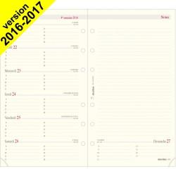 Recharge pour organiseur OBERTHUR 17 - 10x17cm - 1 semaine sur 2 pages horizontale