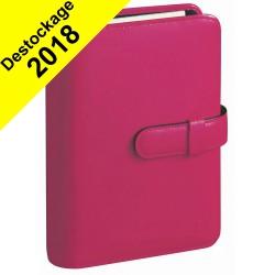 Agenda organiseur QUOVADIS - TIMER 17 Prestige couverture Luna framboise - 10x17cm